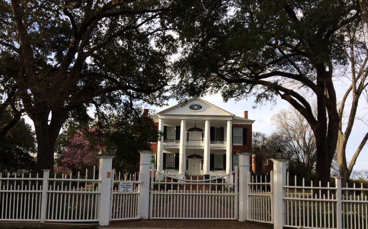 Rosalie mansion - large house with expansive grounds and originally cypress fence.