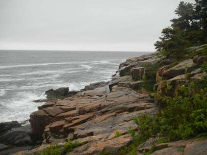 Overcast day, rocky coastline of Acadia National Park