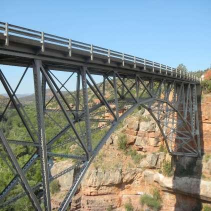 Spandrel-braced deck arch bridge, Sedona Arizona