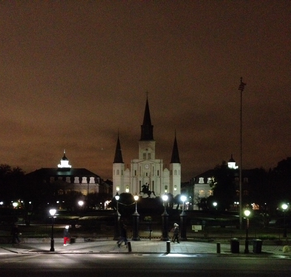 St. Louis Cathedral in Jackson Square at night