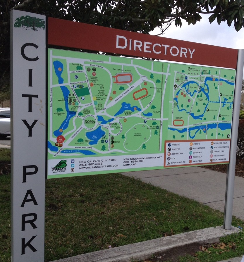 Directory sign and map of City Park